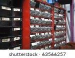 Plastic drawers - stock photo