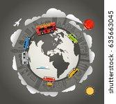 travel around the earth. vector ... | Shutterstock .eps vector #635663045