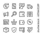 online shopping line icons set. ... | Shutterstock .eps vector #635663189