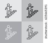walk up stairs symbol vector... | Shutterstock .eps vector #635665391