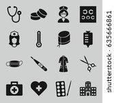 doctor icons set. set of 16... | Shutterstock .eps vector #635666861
