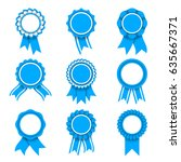 set of 9 blue and white award... | Shutterstock . vector #635667371