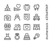 wedding line icons set. modern... | Shutterstock .eps vector #635669069