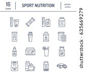 sport nutrition flat line icons.... | Shutterstock .eps vector #635669279