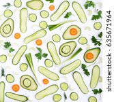 pattern of fresh cut vegetables ... | Shutterstock . vector #635671964
