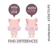 funny poster with cartoon pig... | Shutterstock .eps vector #635675195