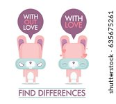 funny poster with cartoon bunny ... | Shutterstock .eps vector #635675261