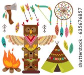 set of isolated tribal elements | Shutterstock .eps vector #635676857