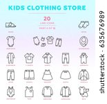 online shop outline icon set of ... | Shutterstock .eps vector #635676989