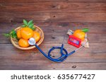 vitamin c form oranges and... | Shutterstock . vector #635677427