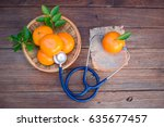 vitamin c form oranges and...   Shutterstock . vector #635677457