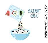 cereal rings box  blackberry... | Shutterstock . vector #635677559