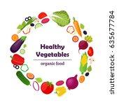 set of healthy vegetables  farm ... | Shutterstock . vector #635677784