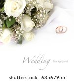 wedding rings and roses bouquet | Shutterstock . vector #63567955