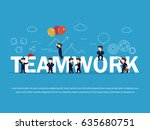 cartoon working little people... | Shutterstock .eps vector #635680751
