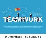cartoon working little people...   Shutterstock .eps vector #635680751