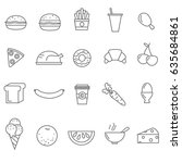 line food icons set | Shutterstock .eps vector #635684861