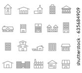 house and building icons set  | Shutterstock .eps vector #635684909