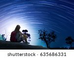 tourist with backpack relaxing... | Shutterstock . vector #635686331