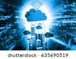 cloud computing concept on tech ... | Shutterstock . vector #635690519