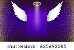 angel wings with golden halo... | Shutterstock .eps vector #635693285
