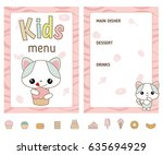Kids Menu Card With Cute...