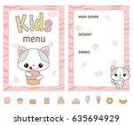 Kids Menu Card With Cute...