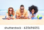 row of multicultural friends... | Shutterstock . vector #635696051