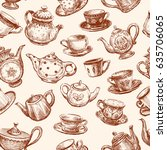 pattern of cups and teapots   Shutterstock .eps vector #635706065