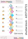 timeline infographic  cyber... | Shutterstock .eps vector #635710721