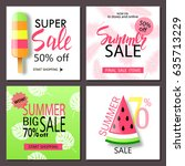 set of summer sale banner... | Shutterstock .eps vector #635713229