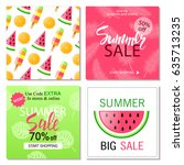set of summer sale banner... | Shutterstock .eps vector #635713235