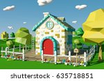 cartoon house with countryside...   Shutterstock . vector #635718851