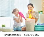 beautiful young woman and child ... | Shutterstock . vector #635719157