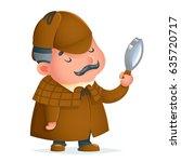 victorian detective gentleman... | Shutterstock .eps vector #635720717