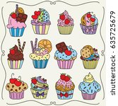 doodle set of cupcakes. hand