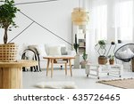 wooden and white furniture in... | Shutterstock . vector #635726465