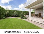 modern house with beauty garden ... | Shutterstock . vector #635729627