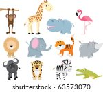 Stock vector set of animal icons and cartoons of wild animals 63573070