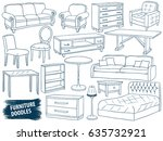 furniture doodles set. interior ... | Shutterstock .eps vector #635732921
