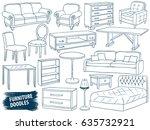 furniture doodles set. interior ...