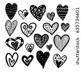 heart black and white sketch... | Shutterstock .eps vector #635734601