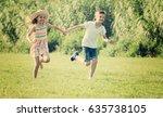 two happy joyful  children in... | Shutterstock . vector #635738105