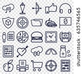 thin icons set. set of 25 thin... | Shutterstock .eps vector #635746565