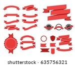 flat vector ribbons banners | Shutterstock .eps vector #635756321
