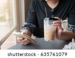 woman hand using smartphone for ... | Shutterstock . vector #635761079