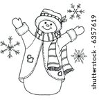 Black And White Snowman Vector