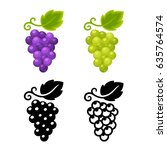 grape icon set  black and color ... | Shutterstock .eps vector #635764574