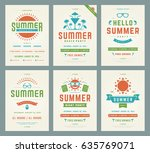 retro summer party design... | Shutterstock .eps vector #635769071
