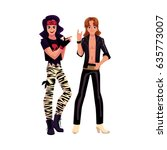 two men dressed as glam rock... | Shutterstock .eps vector #635773007